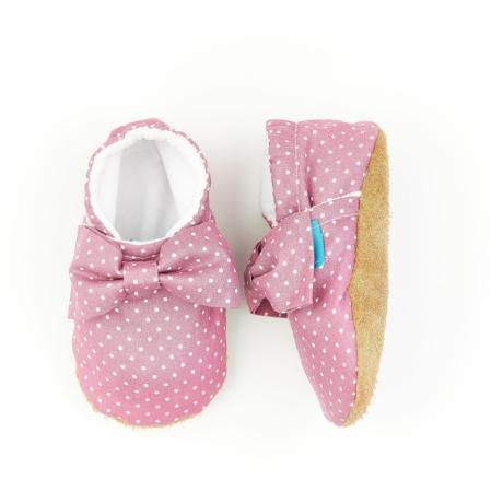 Funkidz puhatalpú cipő mályva pöttyök masnival