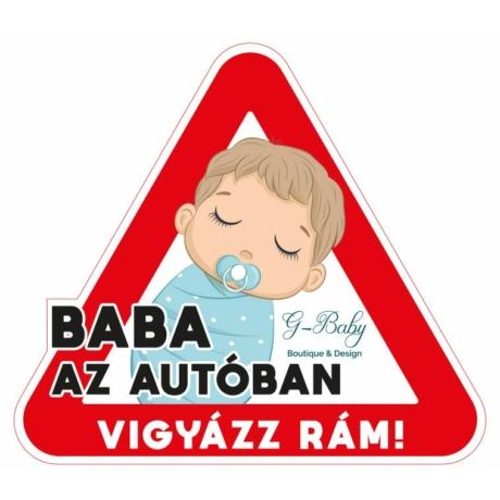 Baba az autóban autós matrica (fiú)