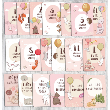 Baba hónapkártya (rózsaszín) lufis gbaby.hu
