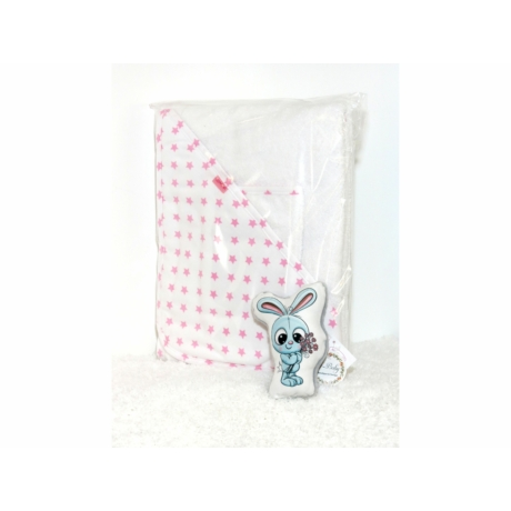 Kapucnis fürdőlepedő fehér-rózsaszín csillag 110*110