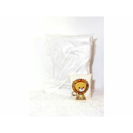 Kapucnis fürdőlepedő fehér hímzett oroszlán 110*110