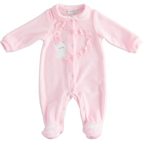 Ido kislány plüss rugdalózó rózsaszín virágos macis