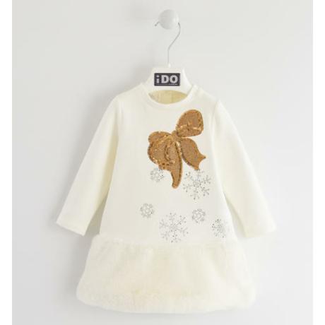 Ido kislány ekrü alkalmi ruha arany masnival - G-Baby Boutique