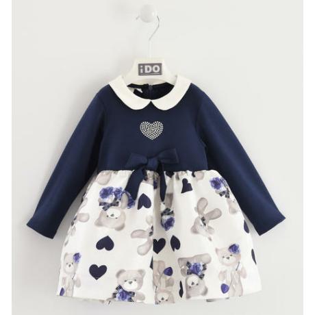 IDO sötétkék macis kislány ruha - G-Baby Boutique