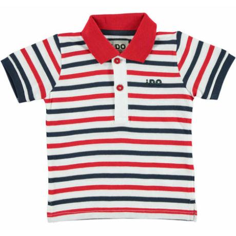 Ido piros-kék csíkos galléros fiú póló