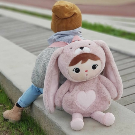 neves púder-rózsaszín nyuszis hátizsák-gbaby.hu